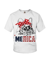FRENCHIE-MERICA-With-Red-Bandana Youth T-Shirt thumbnail