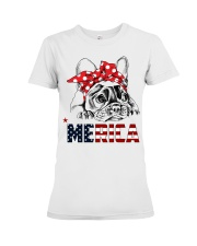 FRENCHIE-MERICA-With-Red-Bandana Premium Fit Ladies Tee front