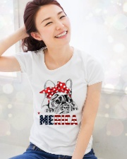 FRENCHIE-MERICA-With-Red-Bandana Premium Fit Ladies Tee lifestyle-holiday-womenscrewneck-front-1