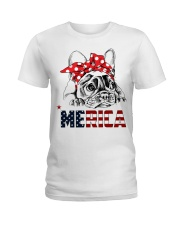 FRENCHIE-MERICA-With-Red-Bandana Ladies T-Shirt thumbnail