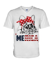 FRENCHIE-MERICA-With-Red-Bandana V-Neck T-Shirt thumbnail