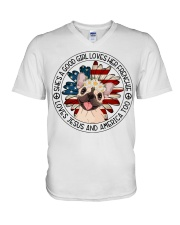 Good Girl Loves Frenchie-Jesus and America Too V-Neck T-Shirt thumbnail