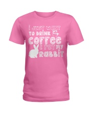 Coffee And Pet My Rabbit T-Shirt Ladies T-Shirt thumbnail