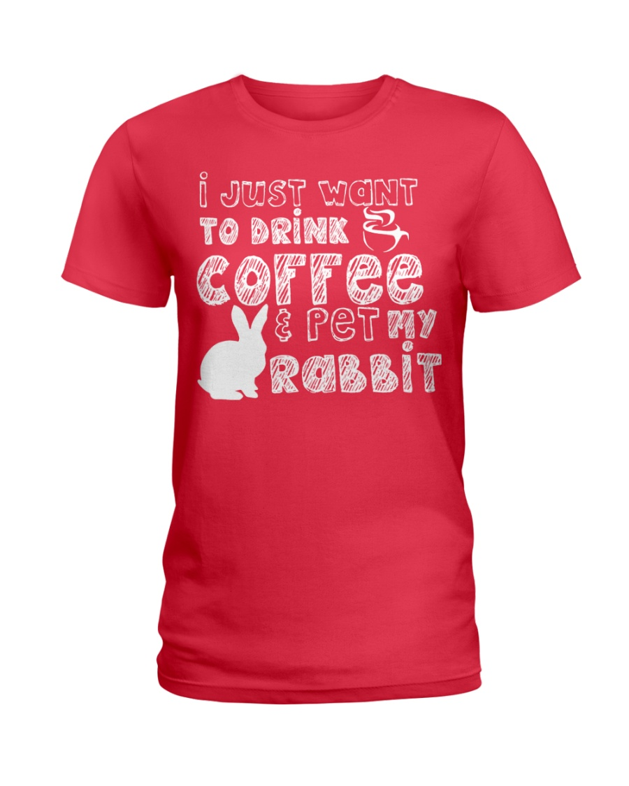 Coffee And Pet My Rabbit T-Shirt Ladies T-Shirt