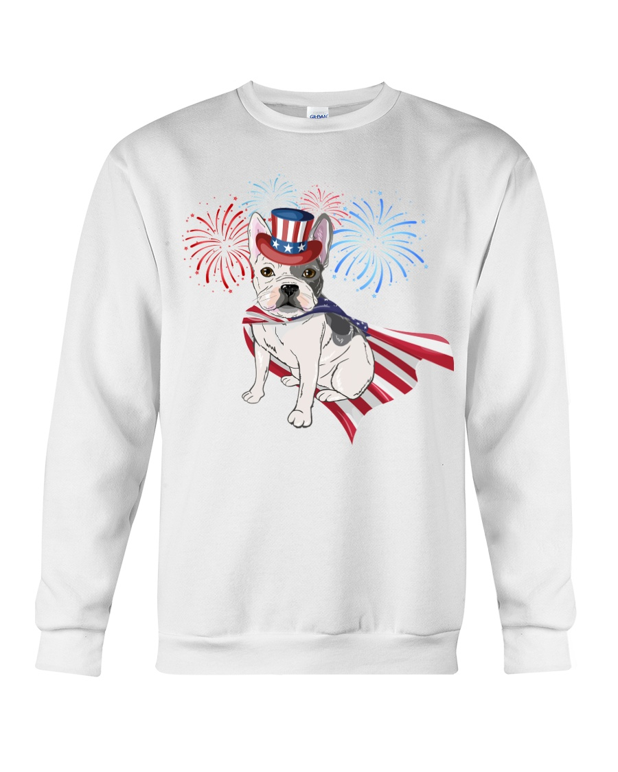 Frenchie America-Cloak Patriot-Hat 4th 7  Crewneck Sweatshirt
