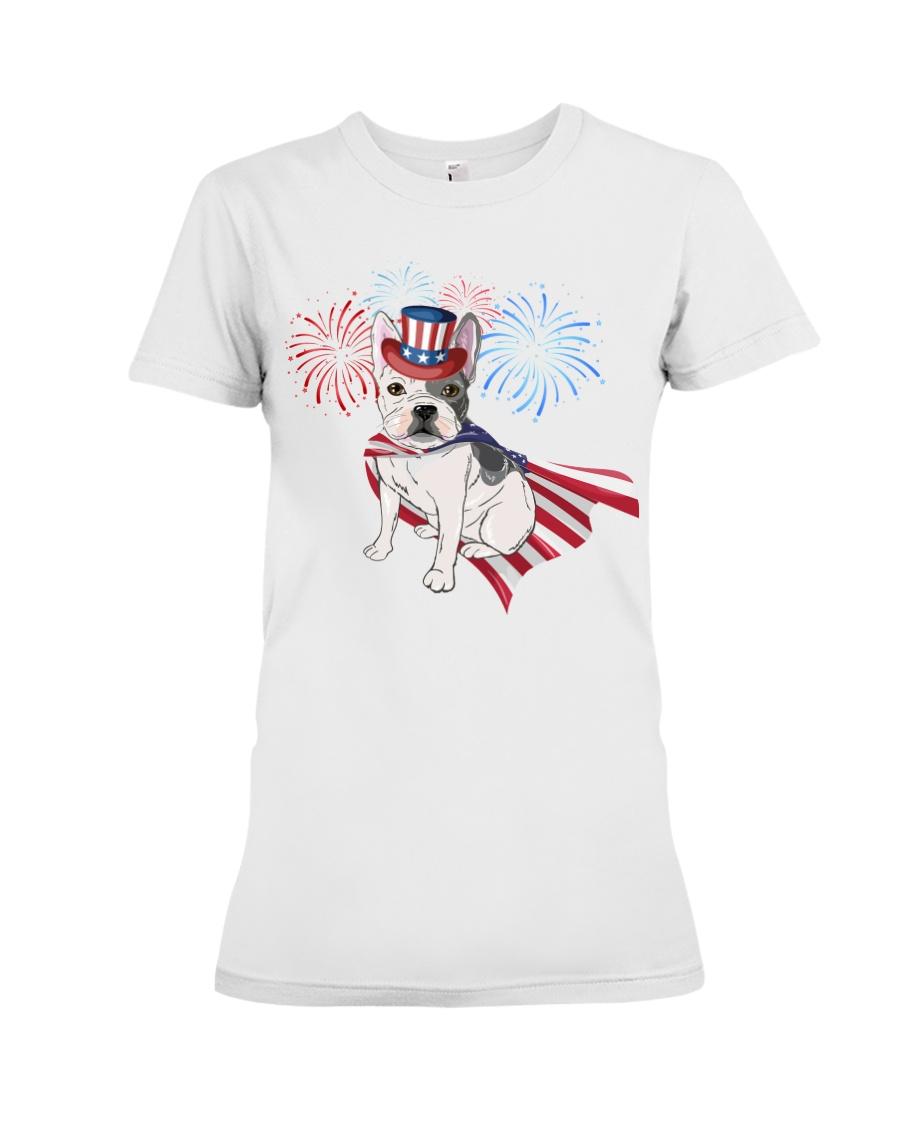 Frenchie America-Cloak Patriot-Hat 4th 7  Premium Fit Ladies Tee