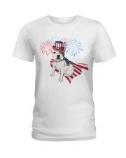 Frenchie America-Cloak Patriot-Hat 4th 7  Ladies T-Shirt thumbnail