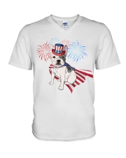 Frenchie America-Cloak Patriot-Hat 4th 7  V-Neck T-Shirt thumbnail