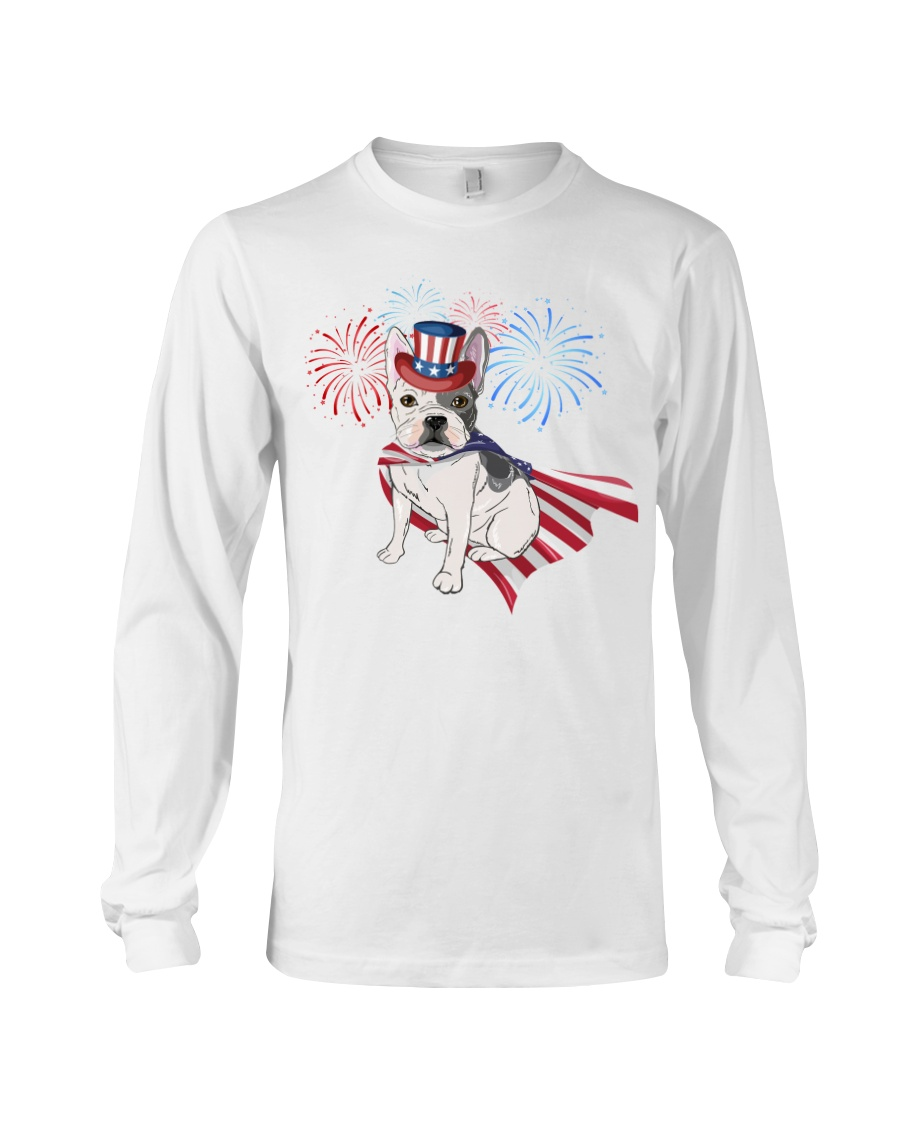 Frenchie America-Cloak Patriot-Hat 4th 7  Long Sleeve Tee