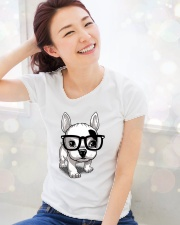 Frenchie Puppy With Glasses T Shirt Premium Fit Ladies Tee lifestyle-holiday-womenscrewneck-front-1