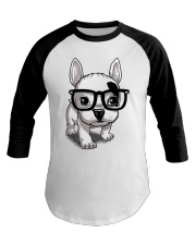 Frenchie Puppy With Glasses T Shirt Baseball Tee thumbnail