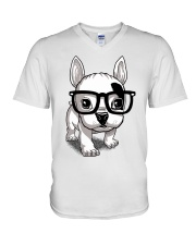 Frenchie Puppy With Glasses T Shirt V-Neck T-Shirt thumbnail