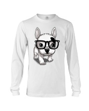 Frenchie Puppy With Glasses T Shirt Long Sleeve Tee thumbnail