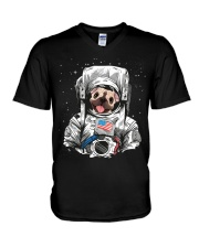 Frenchie Astronaut Suit V-Neck T-Shirt thumbnail