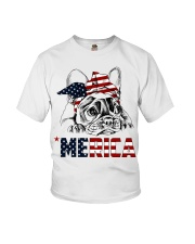 Frenchie Dog USA Flag Headband Gift Youth T-Shirt thumbnail