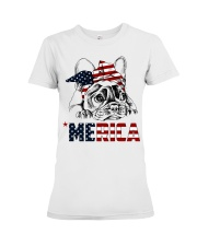 Frenchie Dog USA Flag Headband Gift Premium Fit Ladies Tee front