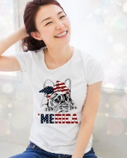 Frenchie Dog USA Flag Headband Gift Premium Fit Ladies Tee lifestyle-holiday-womenscrewneck-front-1