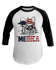 Frenchie Dog USA Flag Headband Gift Baseball Tee thumbnail