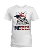 Frenchie Dog USA Flag Headband Gift Ladies T-Shirt thumbnail