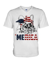 Frenchie Dog USA Flag Headband Gift V-Neck T-Shirt thumbnail