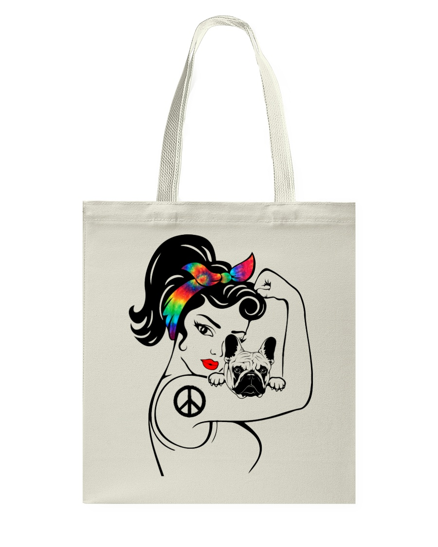 Frenchie With Hippie Woman Tote Bag