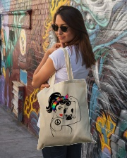 Frenchie With Hippie Woman Tote Bag lifestyle-totebag-front-1