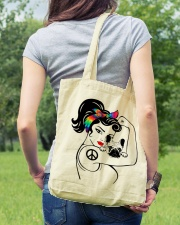 Frenchie With Hippie Woman Tote Bag lifestyle-totebag-front-5