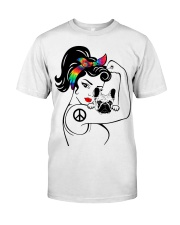 Frenchie With Hippie Woman Classic T-Shirt thumbnail