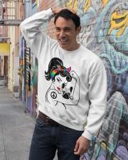 Frenchie With Hippie Woman Crewneck Sweatshirt lifestyle-unisex-sweatshirt-front-4