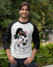 Frenchie With Hippie Woman Baseball Tee apparel-baseball-tee-lifestyle05