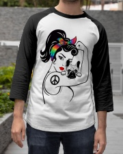 Frenchie With Hippie Woman Baseball Tee apparel-baseball-tee-lifestyle06