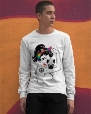 Frenchie With Hippie Woman Long Sleeve Tee apparel-long-sleeve-tee-lifestyle-04