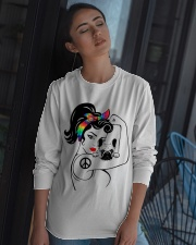 Frenchie With Hippie Woman Long Sleeve Tee apparel-long-sleeve-tee-lifestyle-05