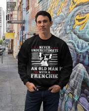 Old Man With French Bulldog American Flag Shirt Crewneck Sweatshirt lifestyle-unisex-sweatshirt-front-2