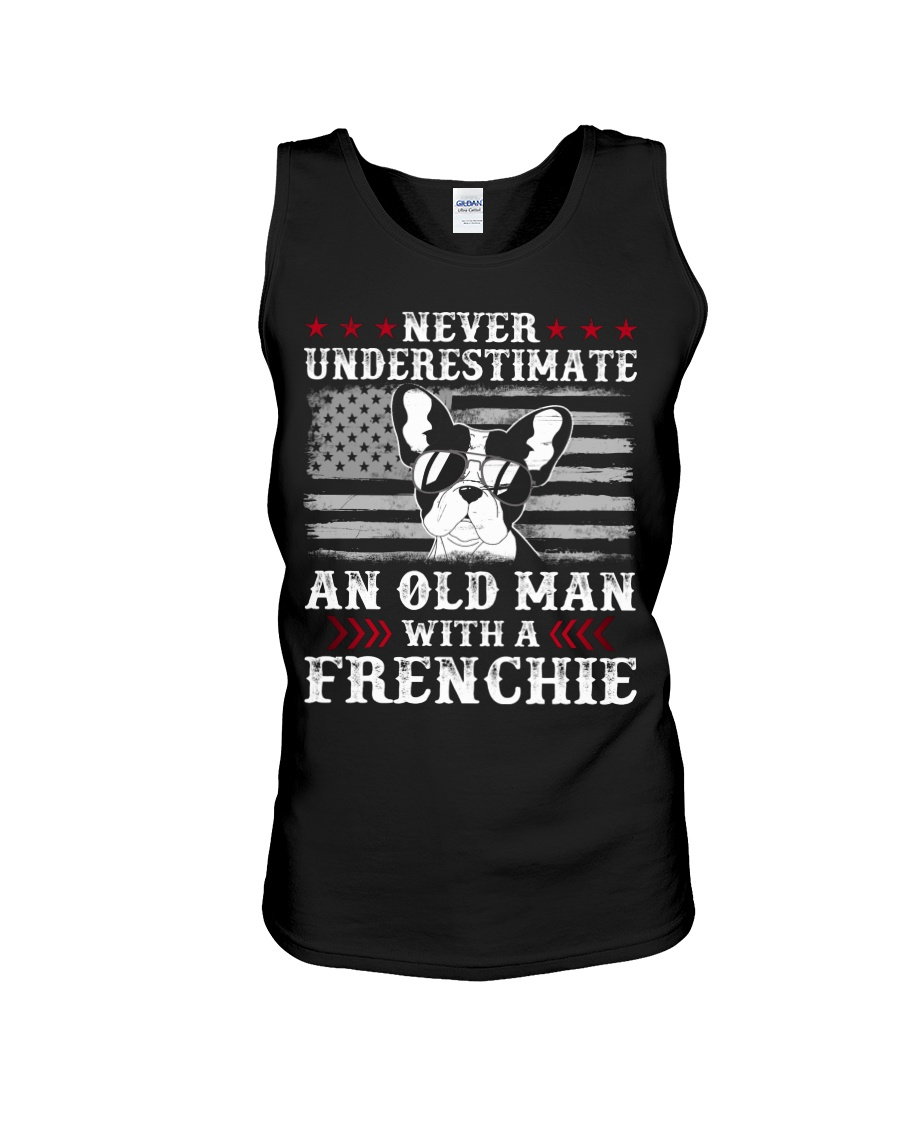 Old Man With French Bulldog American Flag Shirt Unisex Tank