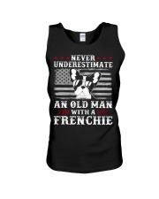 Old Man With French Bulldog American Flag Shirt Unisex Tank tile
