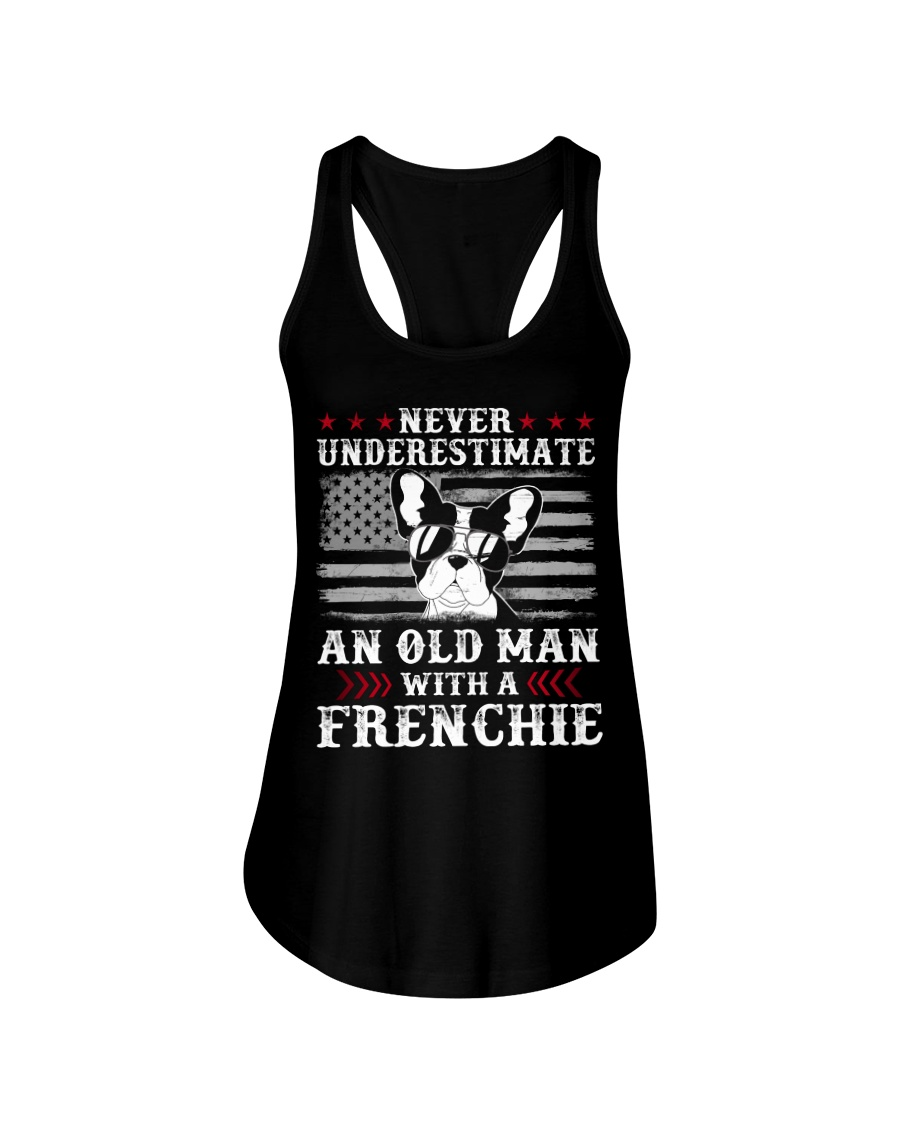 Old Man With French Bulldog American Flag Shirt Ladies Flowy Tank