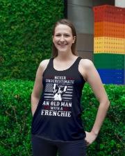 Old Man With French Bulldog American Flag Shirt Ladies Flowy Tank lifestyle-bellaflowy-tank-front-2