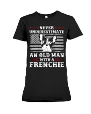 Old Man With French Bulldog American Flag Shirt Premium Fit Ladies Tee thumbnail