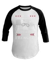 Old Man With French Bulldog American Flag Shirt Baseball Tee tile