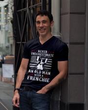 Old Man With French Bulldog American Flag Shirt V-Neck T-Shirt lifestyle-mens-vneck-front-1