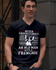 Old Man With French Bulldog American Flag Shirt V-Neck T-Shirt lifestyle-mens-vneck-front-2