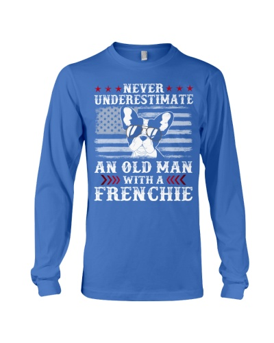 Old Man With French Bulldog American Flag Shirt