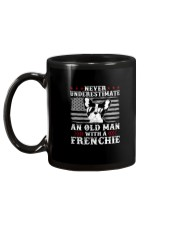 Old Man With French Bulldog American Flag Shirt Mug back
