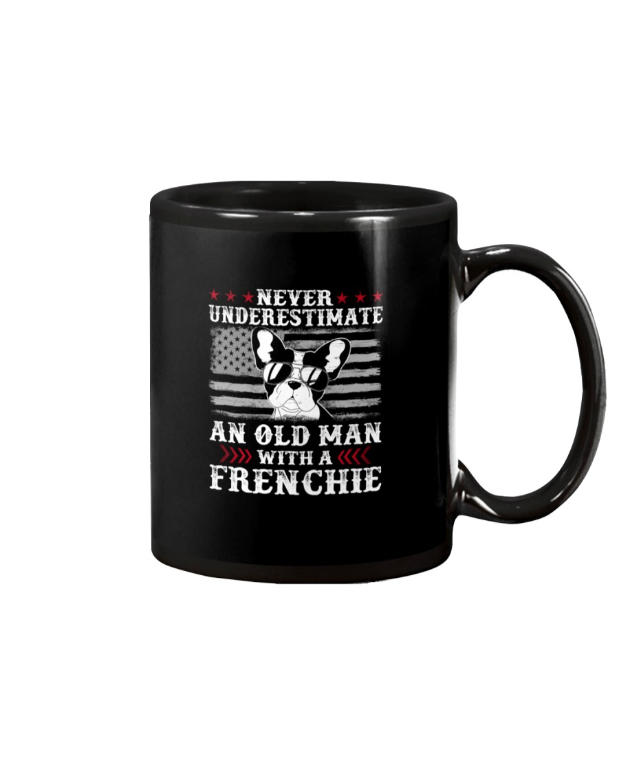 Old Man With French Bulldog American Flag Shirt Mug