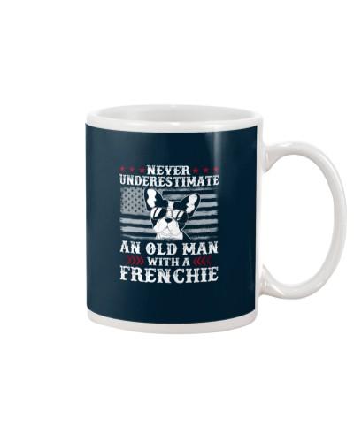 Old Man With French Bulldog American Flag Shirt