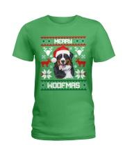 Merry Woofmas Bernese Mountain Dog Ladies T-Shirt thumbnail