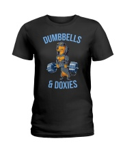 Dumbbells And Doxies Ladies T-Shirt thumbnail