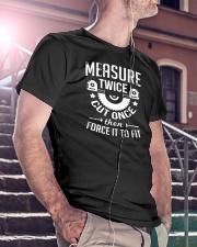 Carpenter Woodworking Measure Twice Classic T-Shirt lifestyle-mens-crewneck-front-5