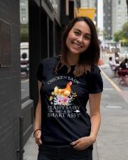 Chicken Lady Classy Sassy Flowers Ladies T-Shirt lifestyle-women-crewneck-front-5